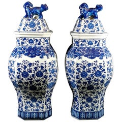 Qing Dinasty Pair of Chinese Vases with Lid