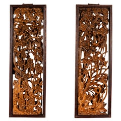 Pair of Chinese Vintage Carved Elmwood Wall Panels with Birds and Foliage Motifs