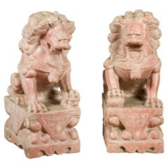 Pair of Chinese Vintage Foo Dogs Guardian Lions on Bases with Sandstone Patina