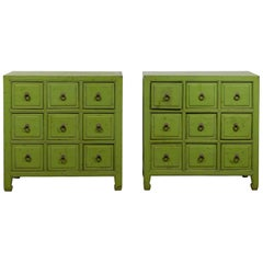 Pair of Chinese Vintage Green Painted Nine-Drawer Apothecary Bedside Chests