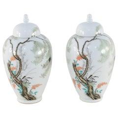 Pair of Chinese White Porcelain Famille Rose Lidded Jars