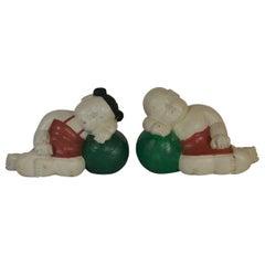 Pair of Chinese Wooden Sleeping Babies