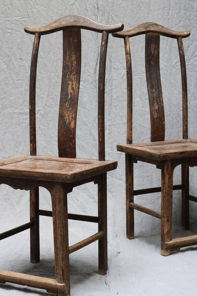 19th Century Pair of Chinese Wooden Stool from the Shanxi Province For Sale
