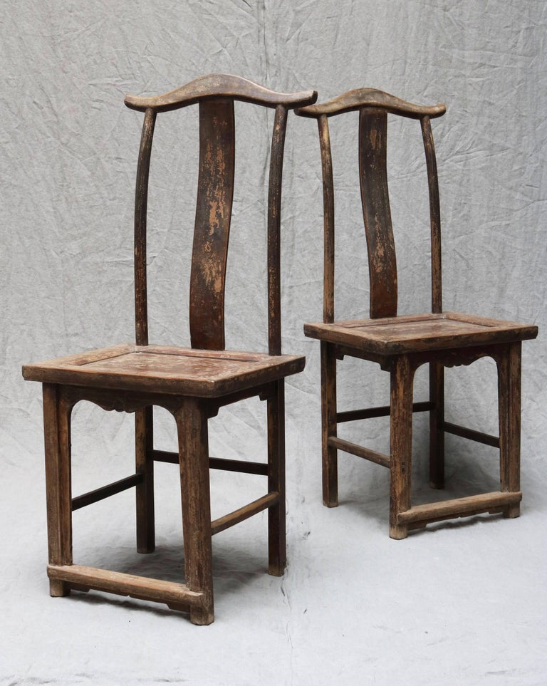 Pair of Chinese Wooden Stool from the Shanxi Province For Sale 1