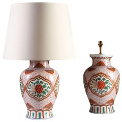 Pair of Chinese Wucai Ginger Jar Porcelain Table Lamps
