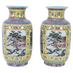 Pair of Chinese Yellow and Turquoise Genre Vignette Porcelain Vases