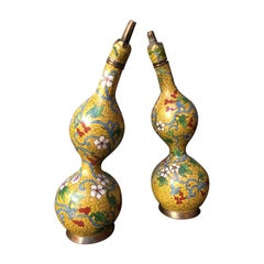 Pair of Chinese Yellow Cloisonne Double Gourd Bottles, Early 20th Century