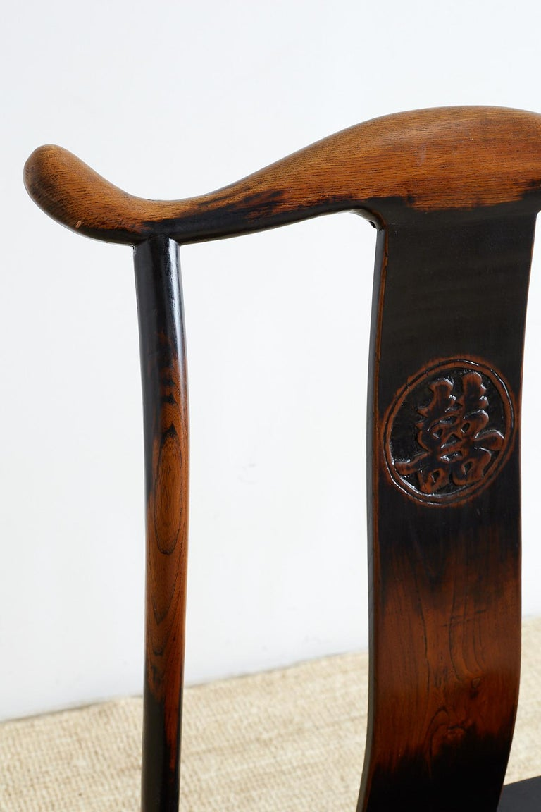 Pair of Chinese Yoke Back Official's Hat Chairs For Sale 3