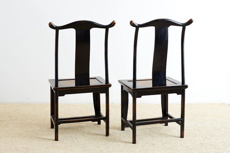 Chinese Export Pair of Chinese Yoke Back Official's Hat Chairs For Sale
