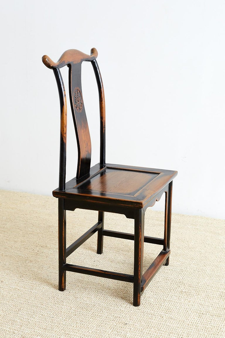 Pair of Chinese Yoke Back Official's Hat Chairs In Good Condition For Sale In Rio Vista, CA