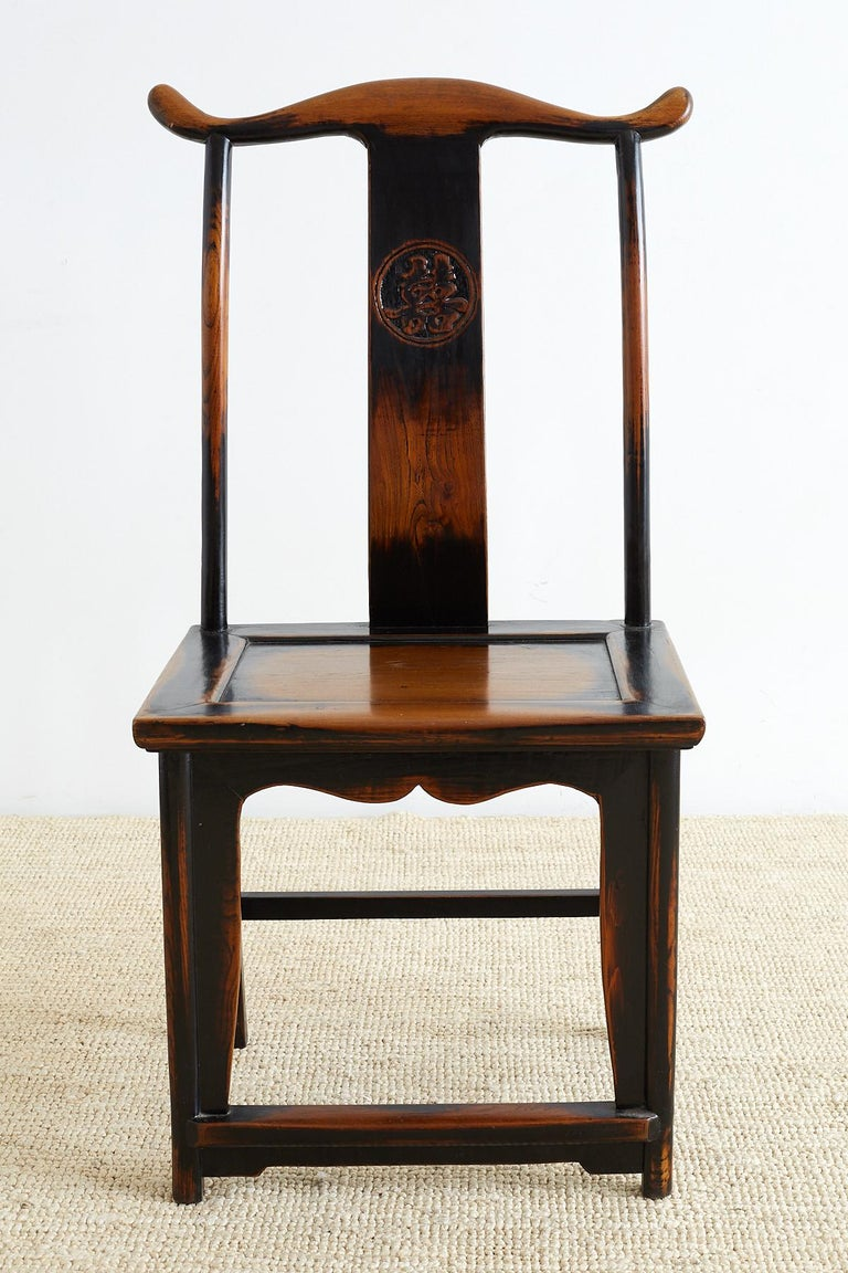 Lacquer Pair of Chinese Yoke Back Official's Hat Chairs For Sale