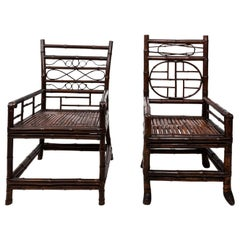 Pair of Chinoiserie Bamboo Armchairs