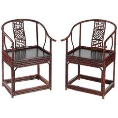 Pair of Chinoiserie Bamboo Horseshoe Chairs