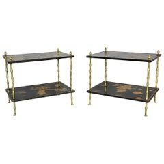 Pair of Chinoiserie Black Lacquer and Brass End Tables Attributed to Baguès