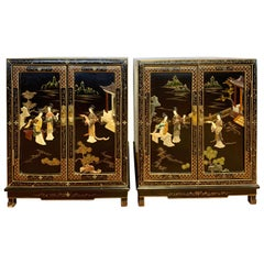 Pair of Chinoiserie Black Lacquer Hand Painted Nightstands Cabinets