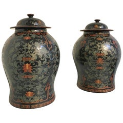 Pair of Chinoiserie Black Lacquer Painted Covered Temple Jars, circa 1980s