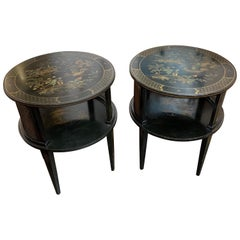 Pair of Chinoiserie Black Lacquered Side Tables