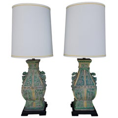 Pair of Chinoiserie Ceramic Vintage Designer Lamps from Beverly Hills Estate