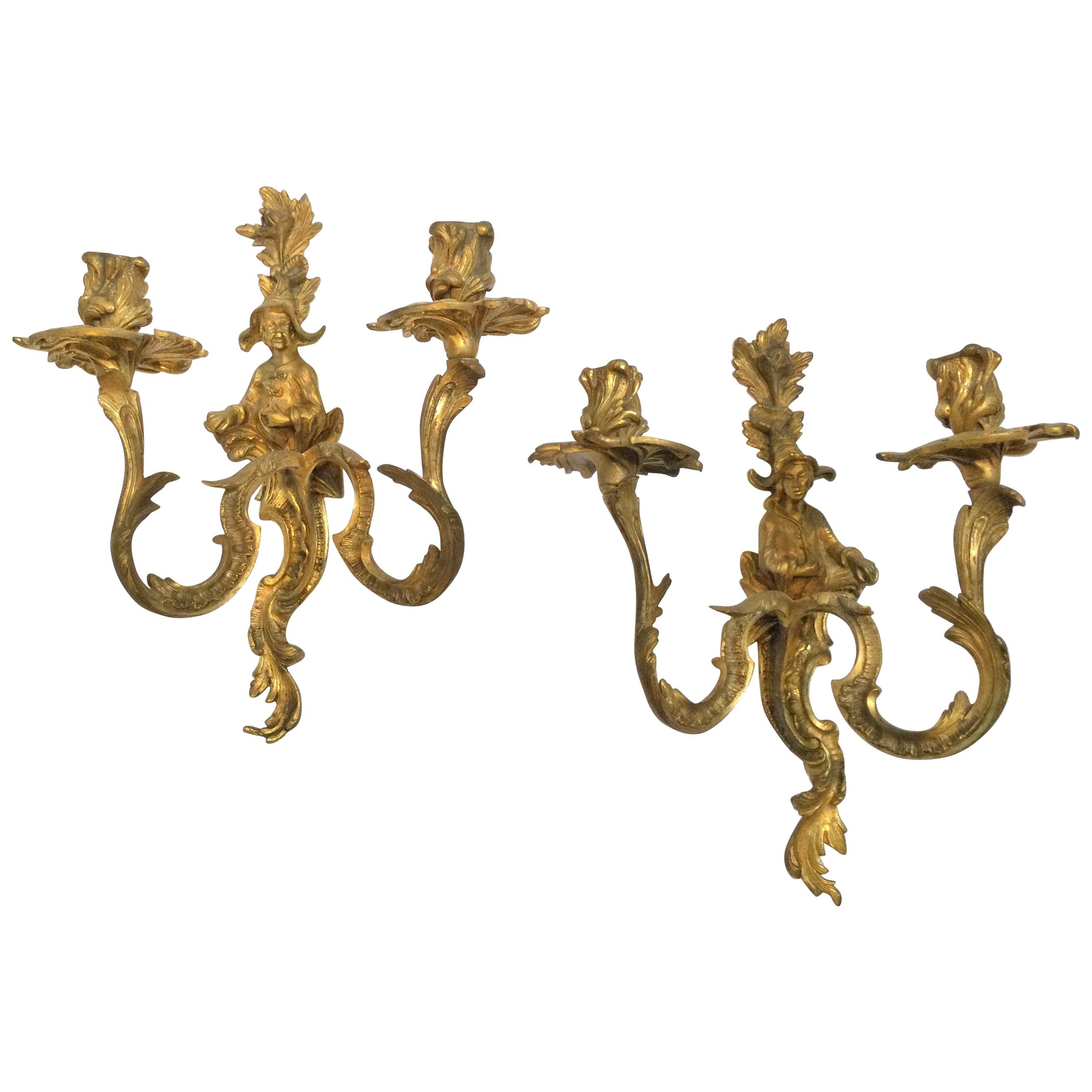 Pair of Chinoiserie Double Candle Light Antique Gilt Bronze Figural Sconces
