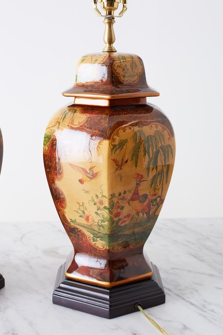 Pair of Chinoiserie Glazed Ginger Jar Table Lamps For Sale 3