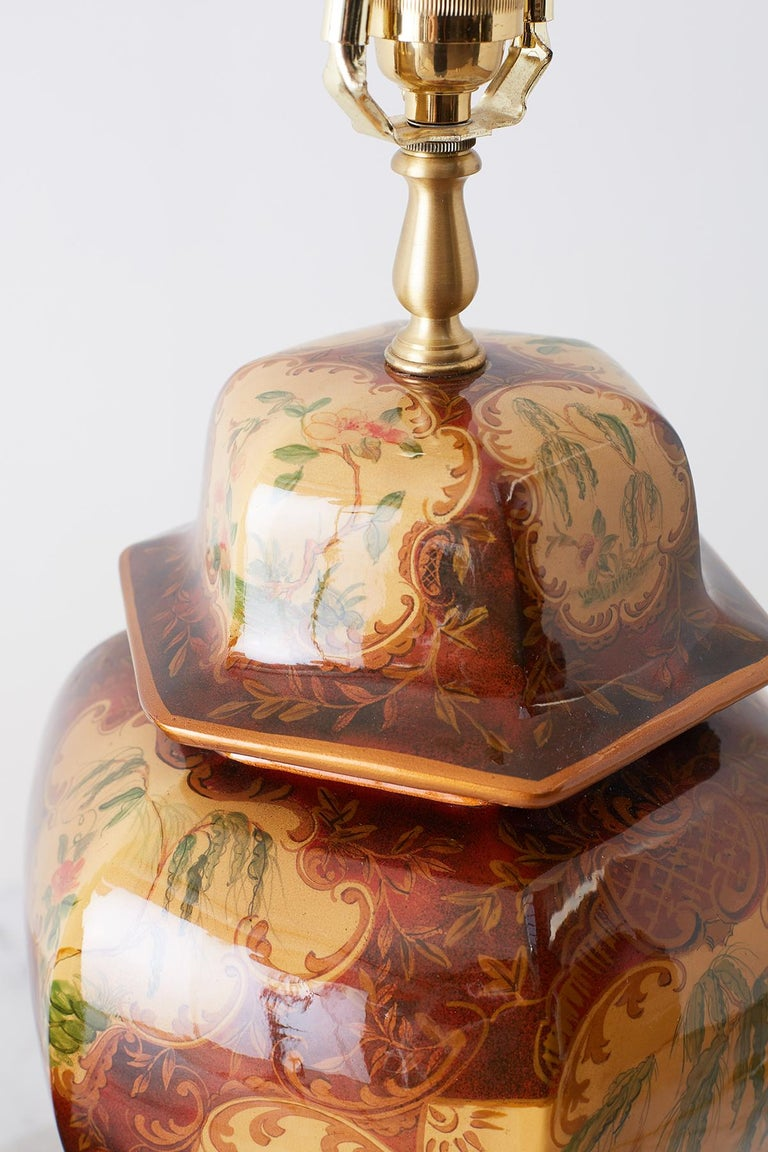 Pair of Chinoiserie Glazed Ginger Jar Table Lamps For Sale 4