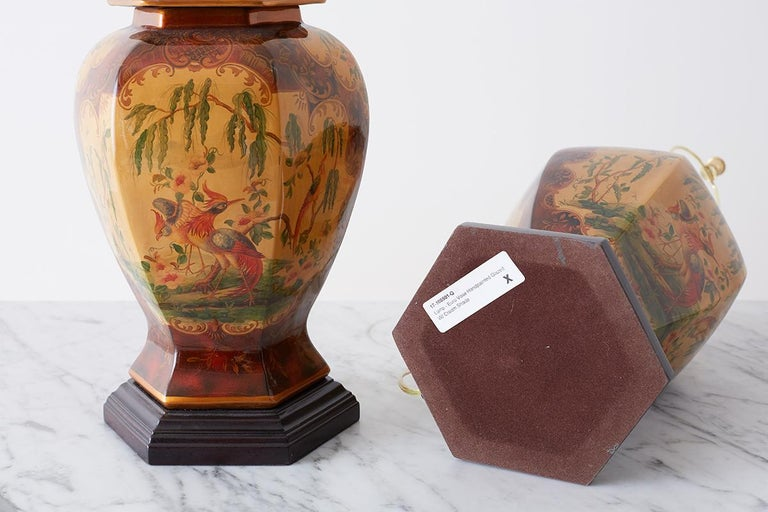 Pair of Chinoiserie Glazed Ginger Jar Table Lamps For Sale 9