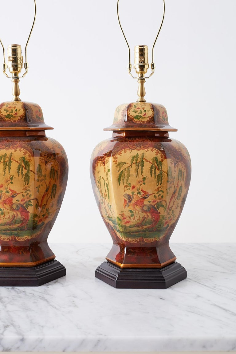 Pair of Chinoiserie Glazed Ginger Jar Table Lamps For Sale 2