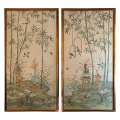 Pair of Chinoiserie Hand Painted Panels by Robert Crowder