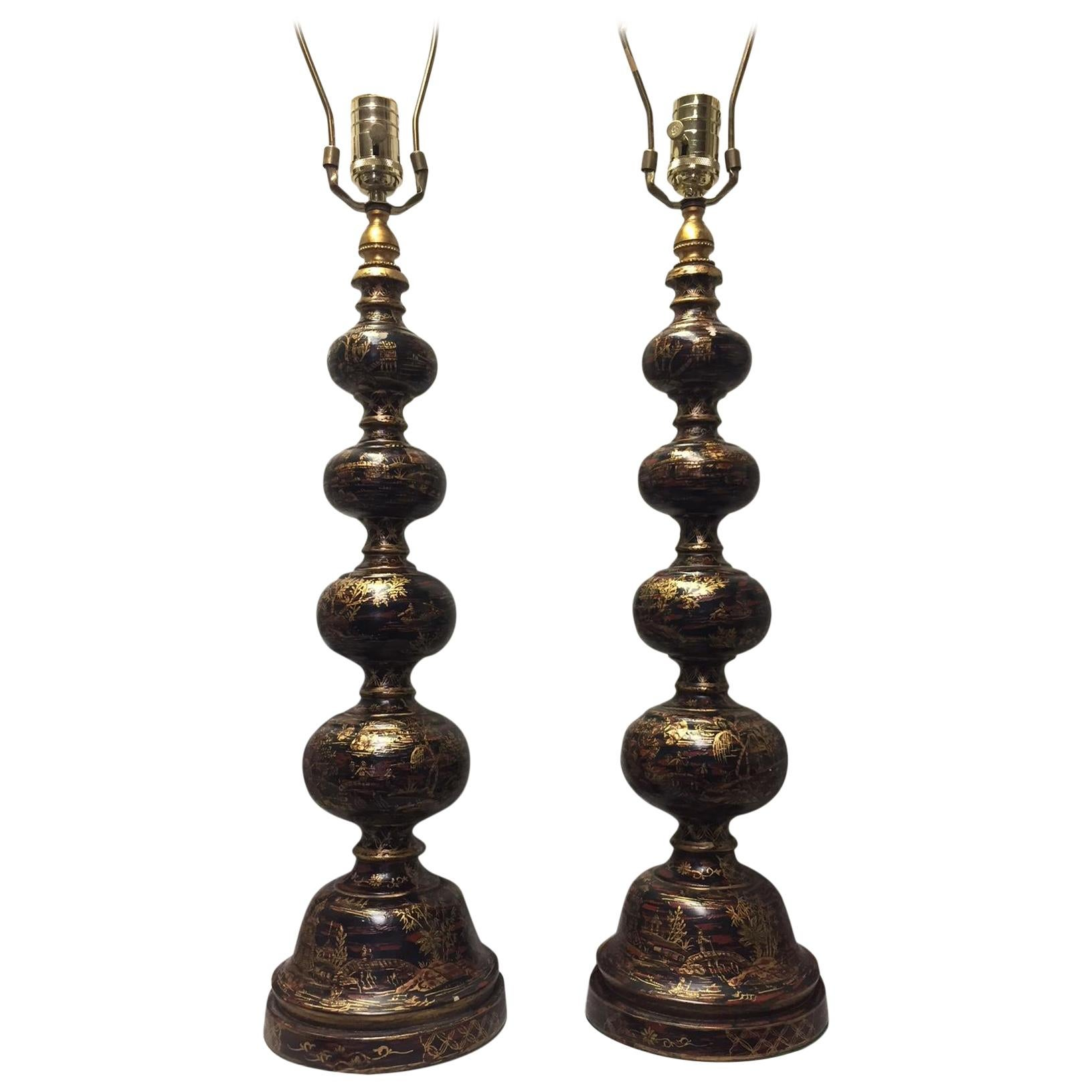 Pair of Chinoiserie Style Lacquered and Painted Lamps