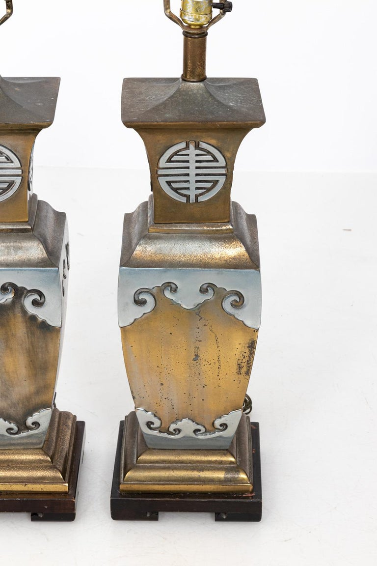 American Pair of Chinoiserie Style Table Lamps in the Manner of James Mont For Sale