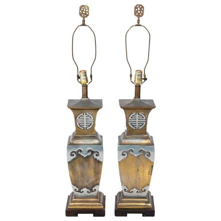 Pair of Chinoiserie Style Table Lamps in the Manner of James Mont For Sale