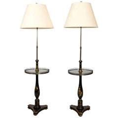 Pair of Chinoiserie Table Floor Lamps, circa 1950s