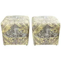 Pair of Chinoiserie Toile Ottomans