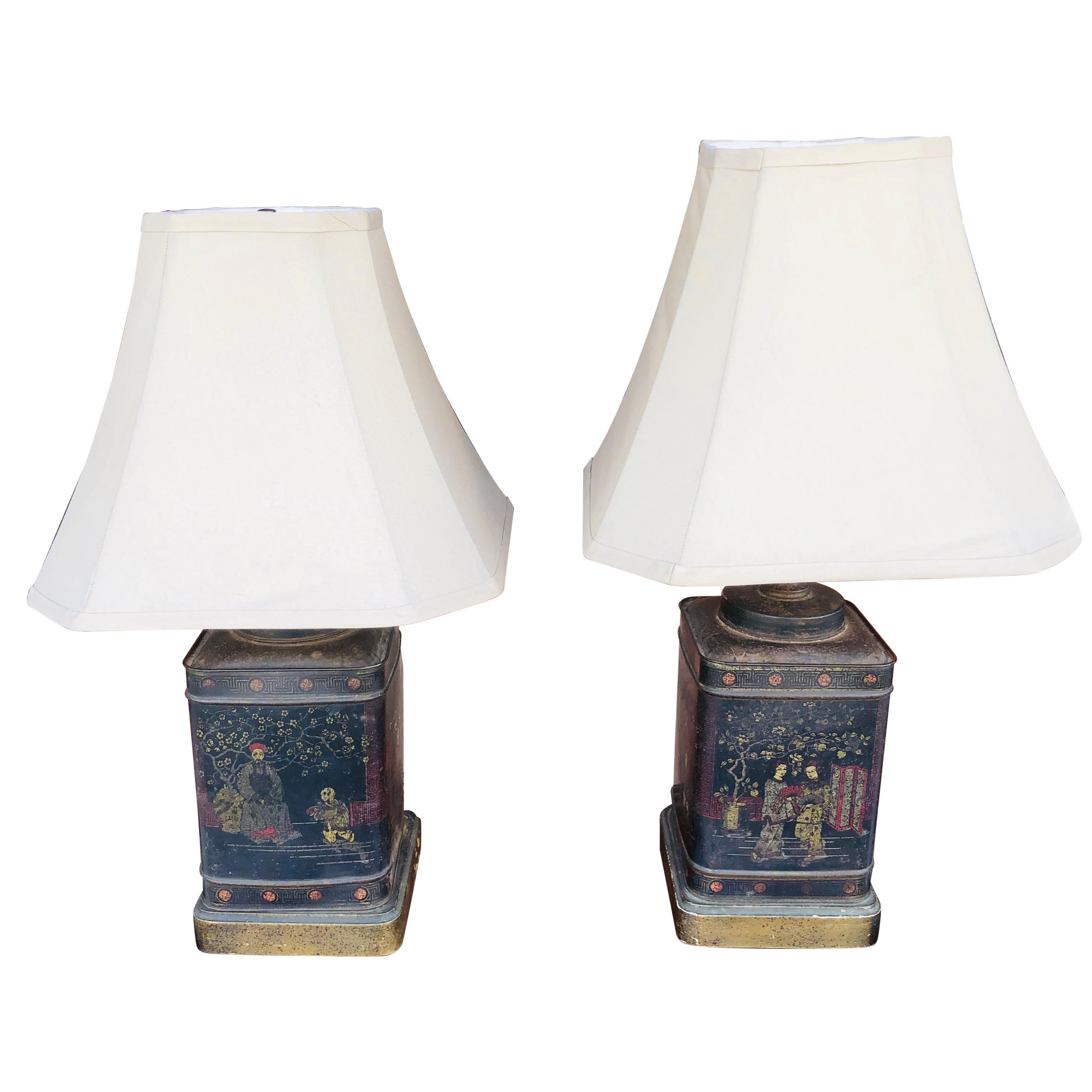 Pair of Chinoiserie Tole Tea Canister Lamps
