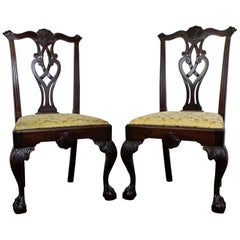 Pair of Chippendale Ball and Claw Mahogany Dining Chairs