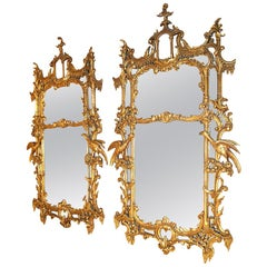 Pair of Chippendale Chinoiserie Style Giltwood Mirrors