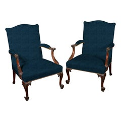Pair of Chippendale Gainsborough Armchairs
