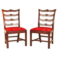 Pair of Chippendale Mahogany Slat Back Chairs