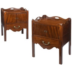 Pair of Chippendale Period Mahogany Tray Top Commodes