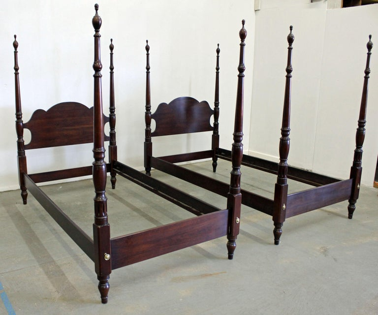 Local Furniture For Sale: Pair Of Chippendale Statton Old Towne Cherry Twin Size Bed