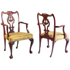 Pair of Chippendale Style Armchairs in Red Lacquered Wood, circa 1880