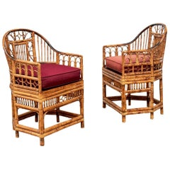 Pair of Chippendale Style Bamboo Club Chairs