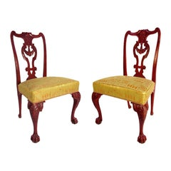 Pair of Chippendale Style Chairs in Red Lacquered Wood, circa 1880