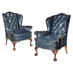 Pair of Chippendale Style Leather Wing Armchairs