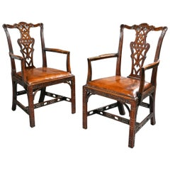 Pair of Chippendale Style Mahogany and Leather Armchairs
