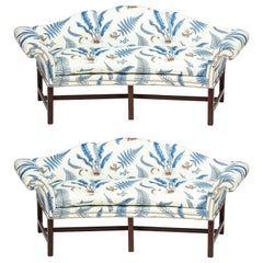 Pair of Chippendale Style Mahogany Camelback Sofas