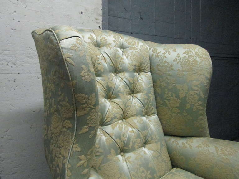 Upholstery Pair of Chippendale Style Tufted Wingback Chairs For Sale