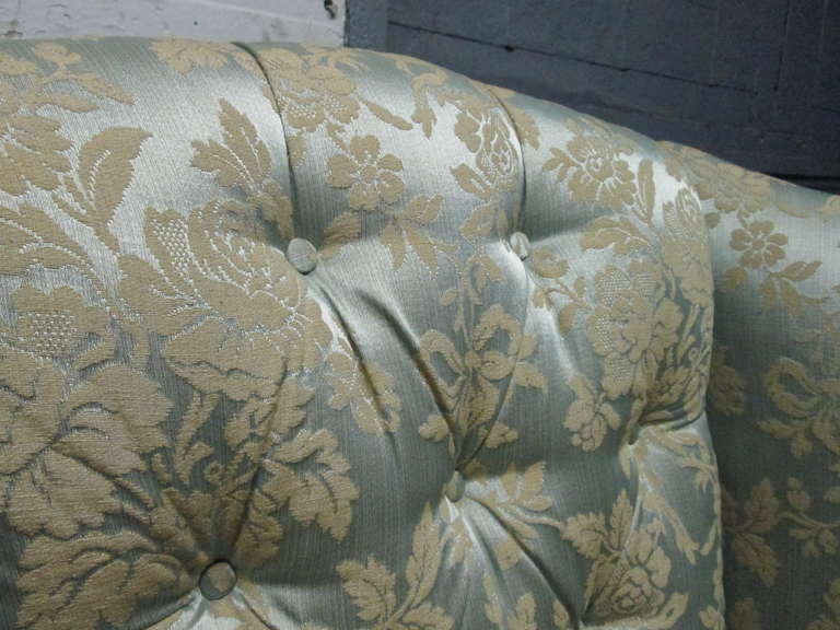 Pair of Chippendale Style Tufted Wingback Chairs For Sale 1