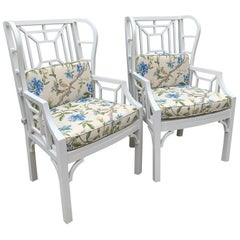 Pair of Chippendale Style Wingback Chairs with Custom Cushions