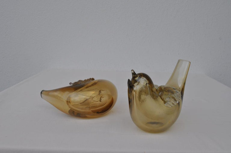 Pair of Chirping Birds, Hand Blown Iridescent Gold Crystal Glass by Paolo Venini For Sale 2